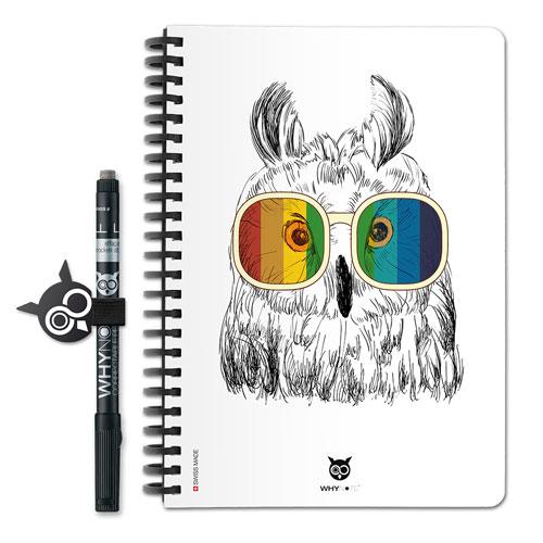 Design de cahier réutilisable Whynote avec hiboux