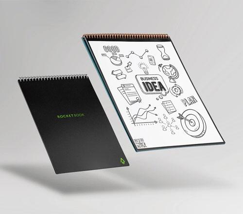 cahier intelligent réutilisable rocketbook Flip pour gaucher et droitier