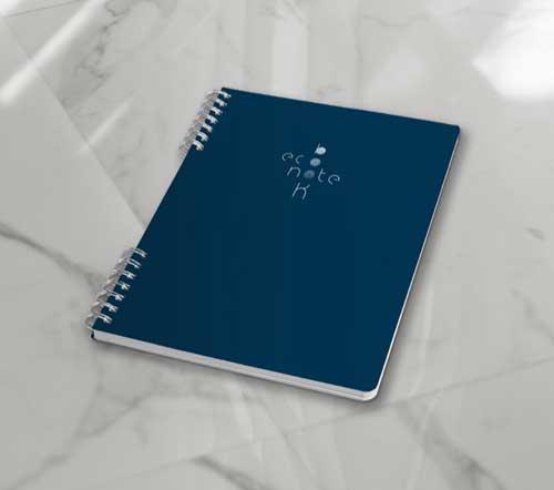 Cahier à spirale réutilisable A5 bleu Econotebk